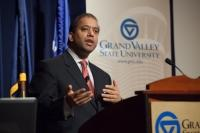 Sandy Baruah addresses a crowd at GVSU.