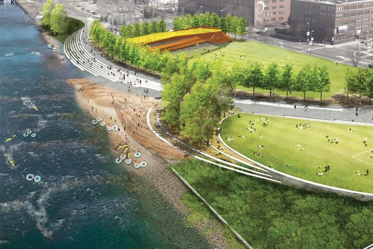 Rendering of the River For All project proposed along the banks of the Grand River in Grand Rapids.