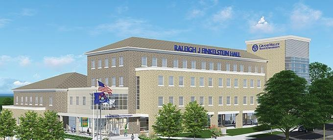 The construction of Raleigh J. Finkelstein Hall along the Medical Mile in Grand Rapids will add new capacity to expand Grand Valley State University's health professions programs, according to President Tom Haas.