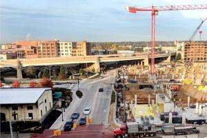 Construction is ongoing in Grand Rapids for the Studio Park project, which includes a movie theater, hotel, retail, residential units and a parking ramp.