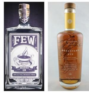 Few Spirits, the makers of Breakfast Gin, left, is alleging Gray Skies Distillery of Grand Rapids is infringing on its trademark with Breakfast Rye, right, a new whiskey that will be released Dec. 3.