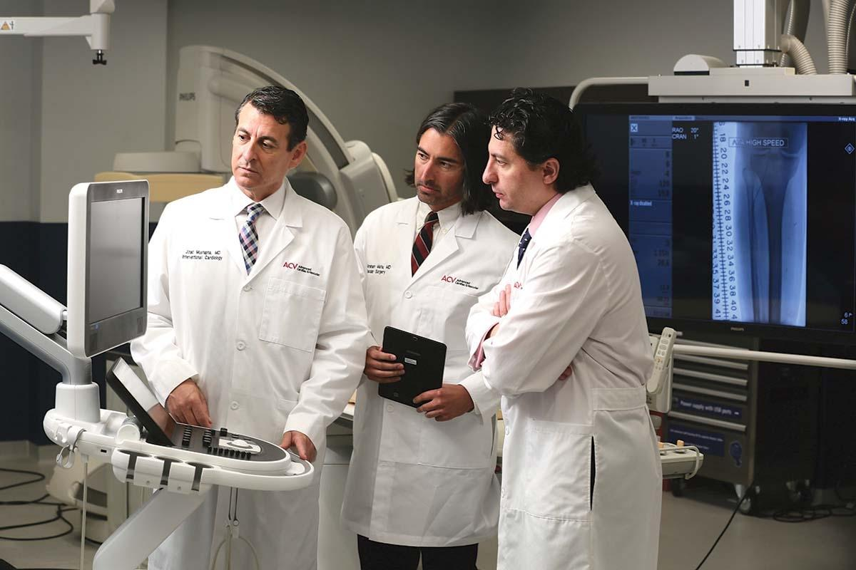 ACV Centers CEO Dr. Jihad Mustapha, left, co-founded the practice with Dr. Fadi Saab, right. Dr. Abraham Mata, center, moved from Texas to join the practice.