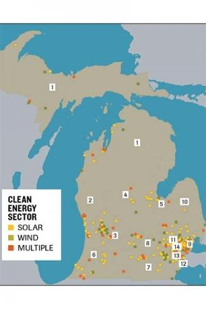 MICHIGAN WIND ENERGY & SOLAR ENERGY COMPANIES: (U.S. Congressional Districts):  As of July 2019, the Environmental Law and Policy Center (ELPC) identified wind and solar companies in all 14 congressional districts.