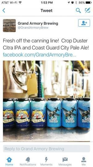 """Grand Haven-based Grand Armory Brewing Co. tried to trademark the use of the phrase """"Coast Guard City"""" for beer for its Coast Guard City Pale Ale, shown at left in this screenshot of a tweet. The move drew the attention of the U.S. Department of Homeland Security, which said the name falsely implies that the Coast Guard endorsed or authorized the product. Additionally, federal law prohibits the unauthorized use of the Coast Guard name, which is punishable by a fine of up to $10,000 and/or a year in prison."""