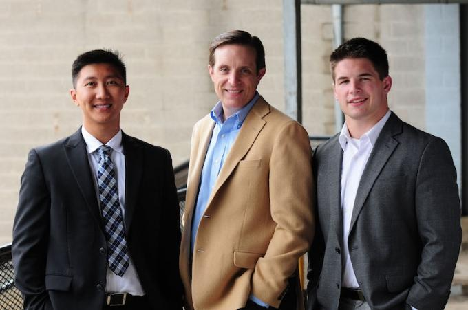 Auxo Managing Partner Jeff Helminski, center, with Associate Curtis Chu, left, and Investment Analyst Kanon Dean, right.
