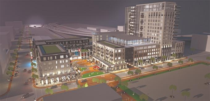 Updated plans for a movie theater and mixed-use district in downtown Grand Rapids now include an office tower and hotel development, sources tell MiBiz. While the overall project, the original renderings for which are shown here, still faces hurdles, stakeholders hope new components will get the development over the finish line.