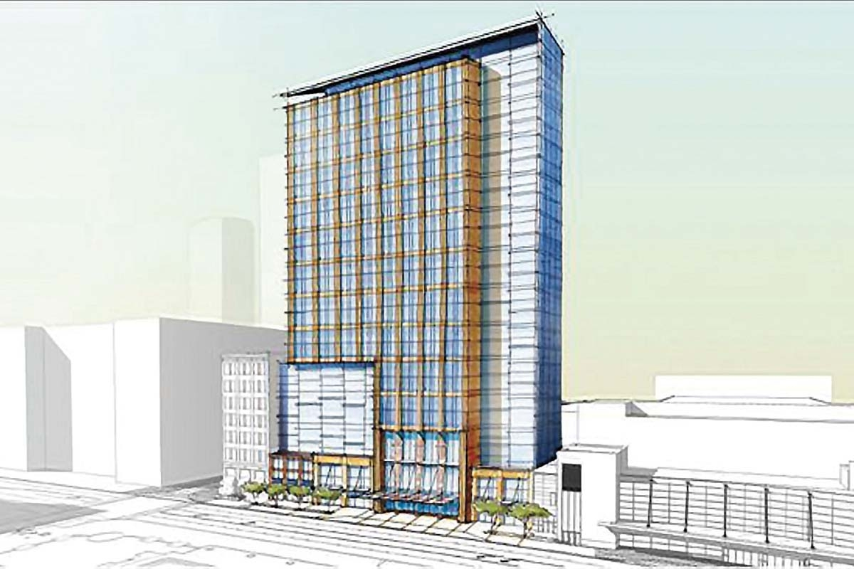 This 2017 drawing demonstrates a possible look and location for a proposed 400-room convention center hotel along Monroe Avenue in Grand Rapids. The Grand Rapids-Kent County Convention/Arena Authority hired a consultant to work with a task force that's deciding whether to move forward with plans for the hotel.