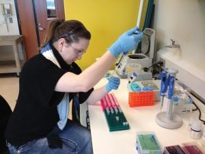 At her lab bench in Muskegon, Syndell Parks tests samples of water milfoil, a highly invasive aquatic plant species that can clog waterways and lakes. Parks, a former graduate student at Grand Valley State University, recently moved GenPass LLC to the Muskegon Innovation Hub. Parks plans to use the mentorship provided at the facility to help her grow her business and brand marketing.