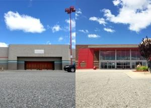 Left: Vacant Target store on Sherman Boulevard in Muskegon. Right: Current Target store on Harvey Street near The Lakes Mall in Muskegon.