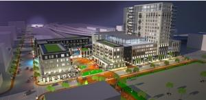 This rendering shows the project 616 Development and Loeks Theaters have proposed for a parking lot south of Van Andel Arena.