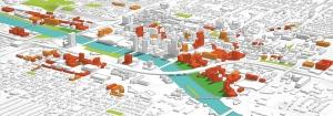 This rendering of Grand Rapids included in the 2015 GR Forward master plan shows current and potential downtown building sites for redevelopments and new projects like the one being pitched to Amazon.com for its HQ2 site.