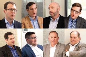 (Left to right); Mike Brown, Charter Capital Partners; Jeff Helminski, Auxo Investment Partners; John Pollock, LV2 Equity Partners LLC; Peter Roth, Varnum LLP; Randy Rua, NuVescor Group LLC and Rua Associates LLC; Jimmy TenBrink, Waseyabek Development Co. LLC; Don VanDine, Wells Fargo Bank; and Eric Seifert, Left Coast Capital Resources LLC.