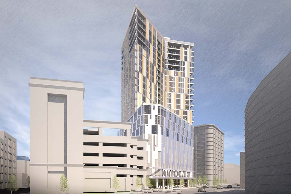 Wheeler Development Group has proposed a mixed-use, 24-story tower for a wedge-shaped lot at the northwest corner of Fulton Street and Ionia Avenue in downtown Grand Rapids.