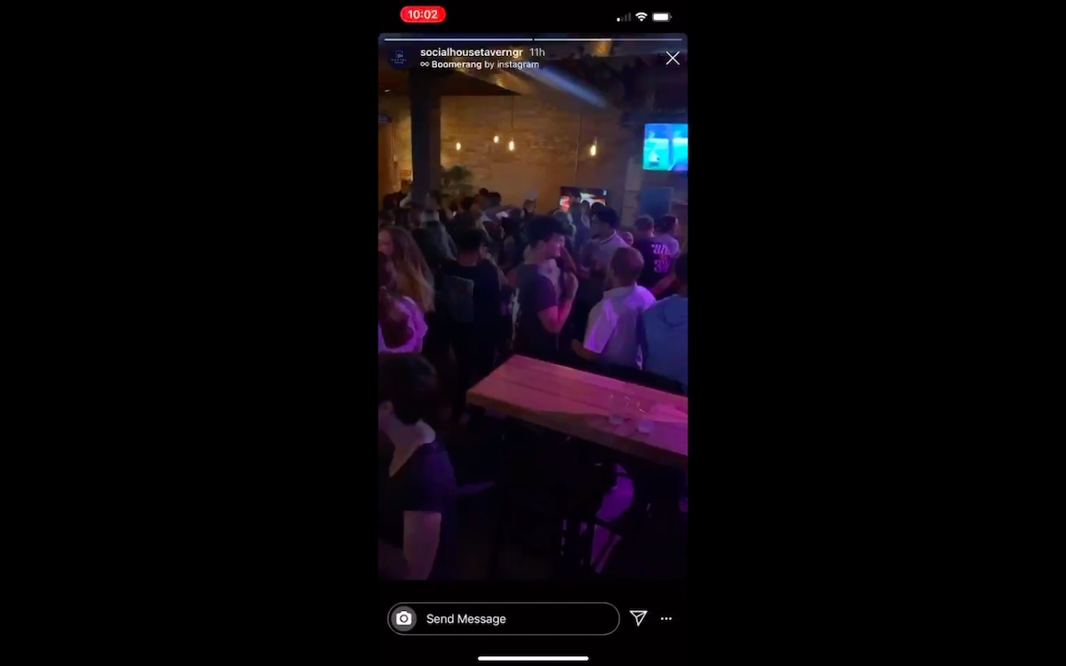 A now deleted post on Social House Tavern's Instagram account showed large crowds of people inside the bar from Friday night.