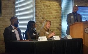 The NextGen Nonprofits program as part of the 2018 MiBiz Best-Managed Nonprofit Awards highlighted how nonprofits can attract and retain Millennial workers. The panel discussion featured WMCAT's Jamon Alexander, Denavvia Mojet of LINC Up, Goodwill's Kathy Crosby and moderator Bill Gesaman of the Michigan Nonprofit Association.
