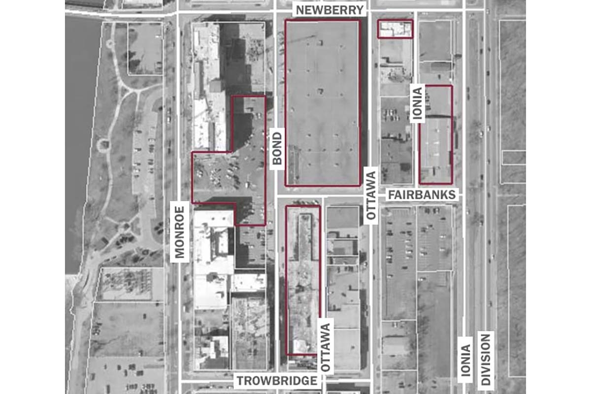 Spectrum Health has acquired the properties bordered in red since December in Grand Rapids' Monroe North business district.