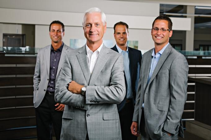 Former Netech Corp. owner Jim Engen (second from left) is show with Tim Engen (left), Mark Wierenga (second from right) and Ryan Engen (right).