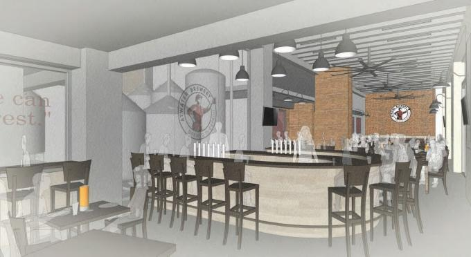 This rendering shows Atwater Brewery's taproom planned for the Rowe Hotel project at Michigan Street and Monroe Avenue in downtown Grand Rapids.