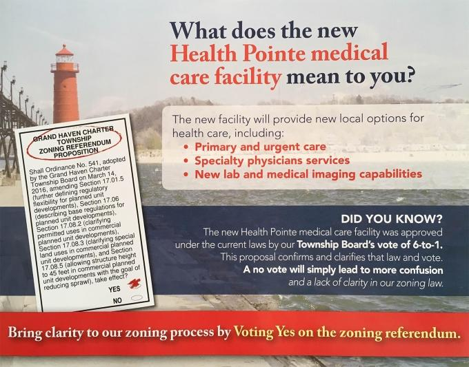 A mailer on the zoning referendum.