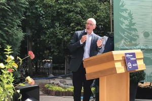 Brad Garmon spoke in Grand Rapids after being appointed by Gov. Gretchen Whitmer to lead the state's Office of Outdoor Recreation Industry.