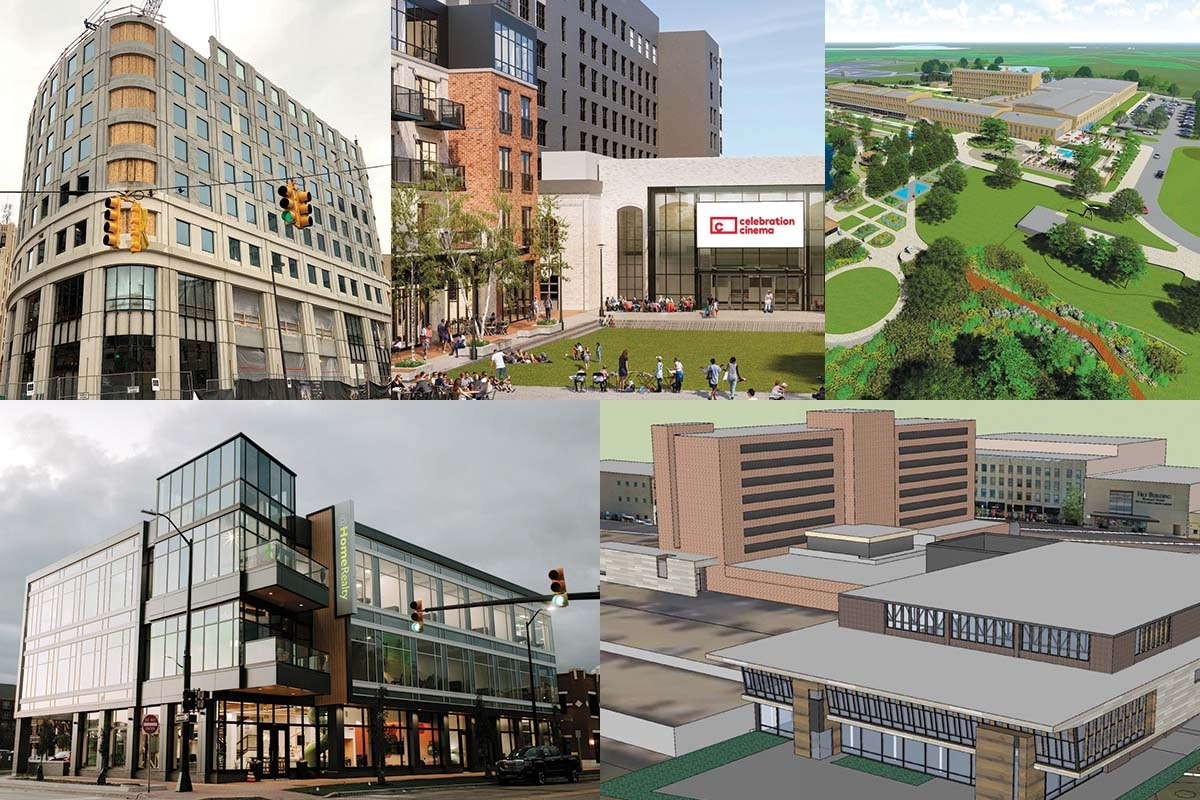 From upper left to lower lower right: 10 Ionia, Studio Park, The Mill at Vicksburg, @HomeRealty, Muskegon Convention Center