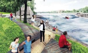 Artist renderings show what the Grand River could look like as part of the efforts to remove dams and restore the namesake rapids through downtown Grand Rapids. The nonprofit Grand Rapids Whitewater aims to submit applications for federal permits in the coming months and begin working in the river next year.