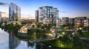 Flaherty Collins Properties' redevelopment proposal, shown here, for the city-owned 201 Market Ave. property included building nearly 700 housing units on the site, as well as a hotel, retail and public green space with access to the Grand River.