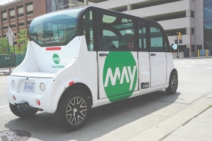 Autonomous shuttles such as this one from May Mobility are servicing cities like Grand Rapids, Detroit and Columbus, Ohio.