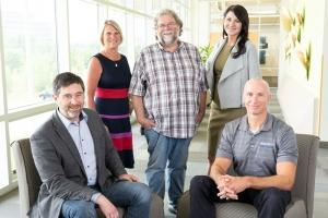 From left to right: Tom Hopper, Associate Director.  Rose Bennett, Administrative Coordinator. Tom Hull, Facilities Maintenance.  Allison Dile, Business Incubator Manager. Kevin Ricco, Director
