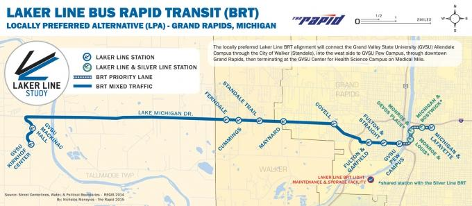 This handout from The Rapid shows the route the proposed Laker Line would take between downtown Grand Rapids and Grand Valley State University's Allendale campus. Federal funding for the bus rapid transit route has yet to be appropriated.