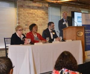 The 2017 MiBiz Best Managed Nonprofits Awards featured a panel of speakers that included (left to right) Diana Sieger, president of the Grand Rapids Community Foundation; Donna Murray Brown, president and CEO of the Michigan Nonprofit Association; and Kyle Caldwell, executive director of the Dorothy Johnson A. Johnson Center for Philanthropy