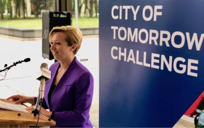 Grand Rapids Mayor Rosalynn Bliss announces the city's partnership with Ford for the City of Tomorrow Challenge, a pilot project aimed at studying and improving mobility.