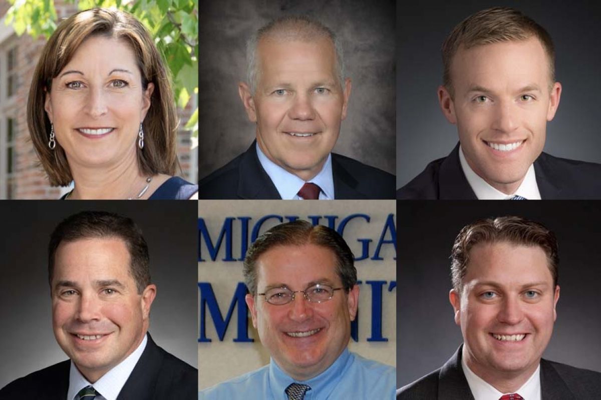 Clockwise, from top left: Krista Flynn, regional president, Chemical Bank; Rick Dyer, president and CEO, Edgewater Bank; Mike Hollander, Michigan market leader, Commerce Bank; Mike Chaffin, senior commercial lender, Fifth Third Bank; Phil Koning, president and CEO, West Michigan Community Bank; Dave Quade, Michigan president, Horizon Bank.