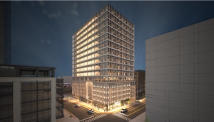 Rendering of a proposed second tower for 158 Oakes Street at Studio Park in Grand Rapids for insurance giant Acrisure LLC.