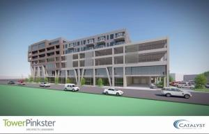 Rendering of proposed $70 million, 7-story building in downtown Kalamazoo.