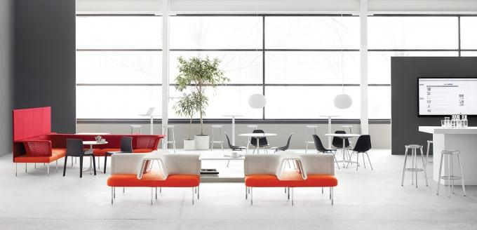 Herman Miller, whose Public Office products are shown here, has experienced capacity constraints in its manufacturing operation amid high demand for new products. As a result, the company is investing in its factories, including for more automation equipment, according to executives.