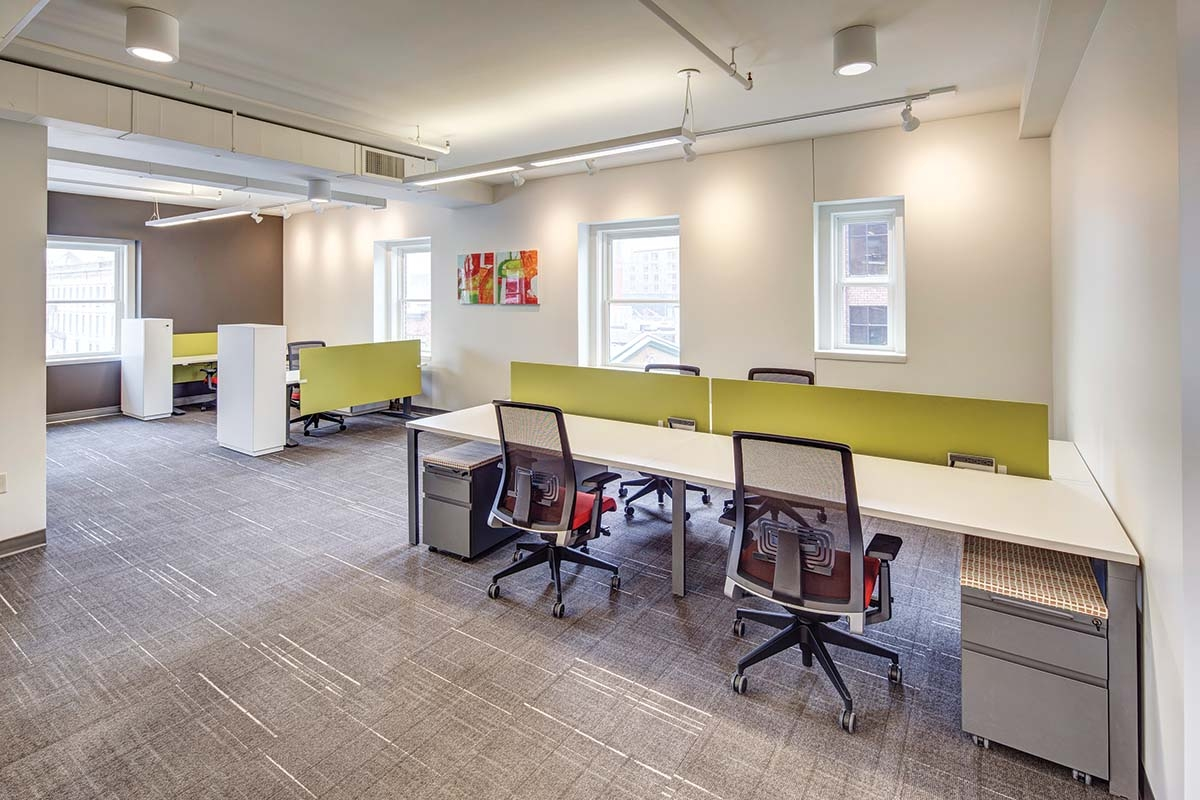 Co-working spaces such as Blue35 in Grand Rapids could become increasingly popular office options for companies as more employees transition to working from home.