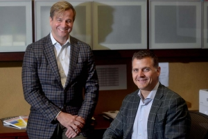 "Clinical Director Scott Lancaster, M.D., left, and Executive Director Scott McLean, right, are helping put Spectrum Health Ventures ""on the map"" as an active corporate venture capital fund in the health care industry."
