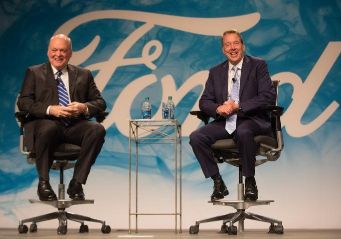 """Veteran Steelcase executive Jim Hackett, left, was tapped to lead Dearborn-based Ford Motor Co. Executive Chairman Bill Ford, right, who's known Hackett for years, said the pair """"always clicked in terms of thinking about the future."""""""