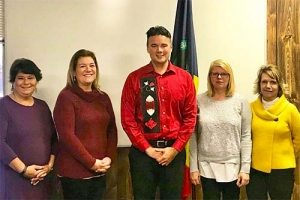 Bay Mills executive council from left to right: Secretary Beverly Carrick, Council Person Rachel Burtt, Chairman Bryan Newland, Vice Chair Brenda Bjork,  and Treasurer Gail Glezen.