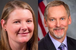 Left: Caitlin Ward, marketing and operations manager at the Muskegon County Convention & Visitors Bureau, right: Mark Eisenbarth, Muskegon County administrator