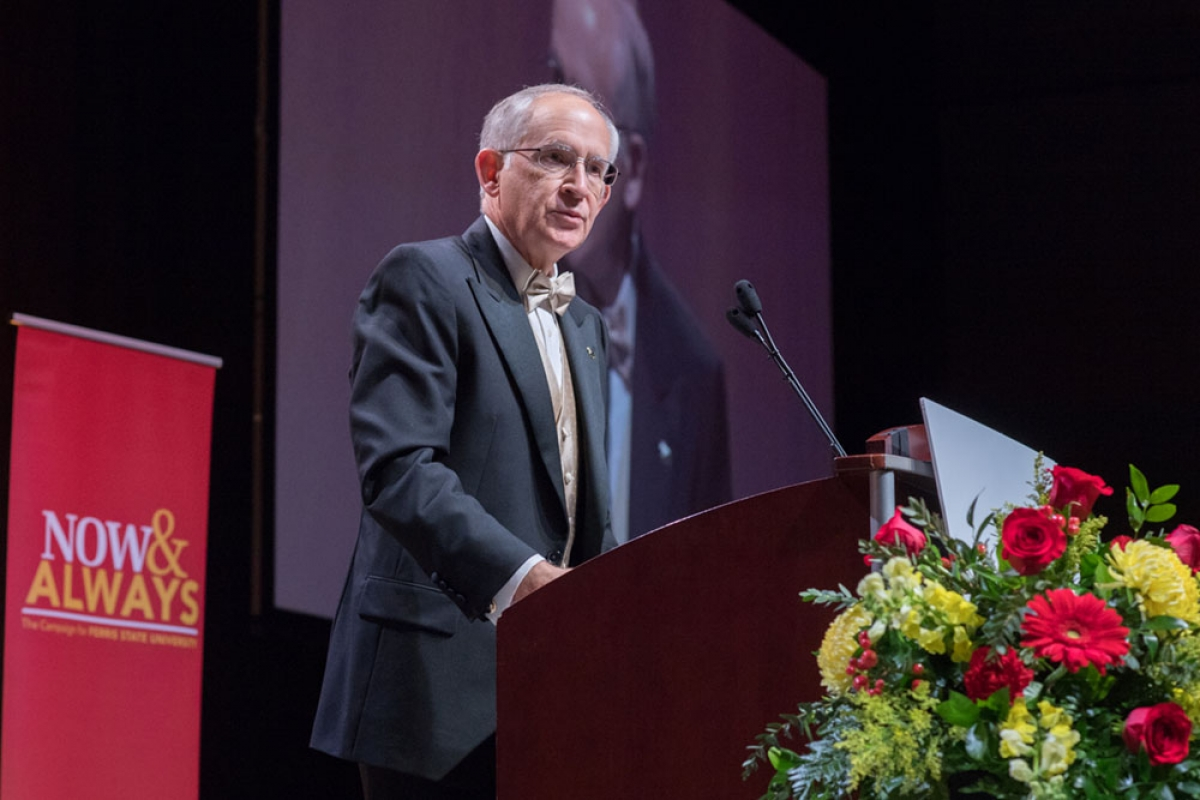 Ferris State University President David Eisler speaks during the 20th annual Ferris Foundation For Excellence Benefit that was hosted on Friday, Nov. 2 at DeVos Place in Grand Rapids. During the event, it was announced that the goal for the Now & Always fundraising campaign has been increased to $115 million and that the timeframe has been extended to June 30, 2022.
