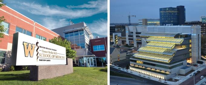 For the first time in its history, the Western Michigan University Homer Stryker M.D. School of Medicine, left, in Kalamazoo has National Institutes of Health grant funding for research flowing into the Center for Immunobiology. Meanwhile, at Van Andel Institute, right, researchers won 22 grants totaling a collective $9.36 million from the NIH in the 2017 fiscal year.