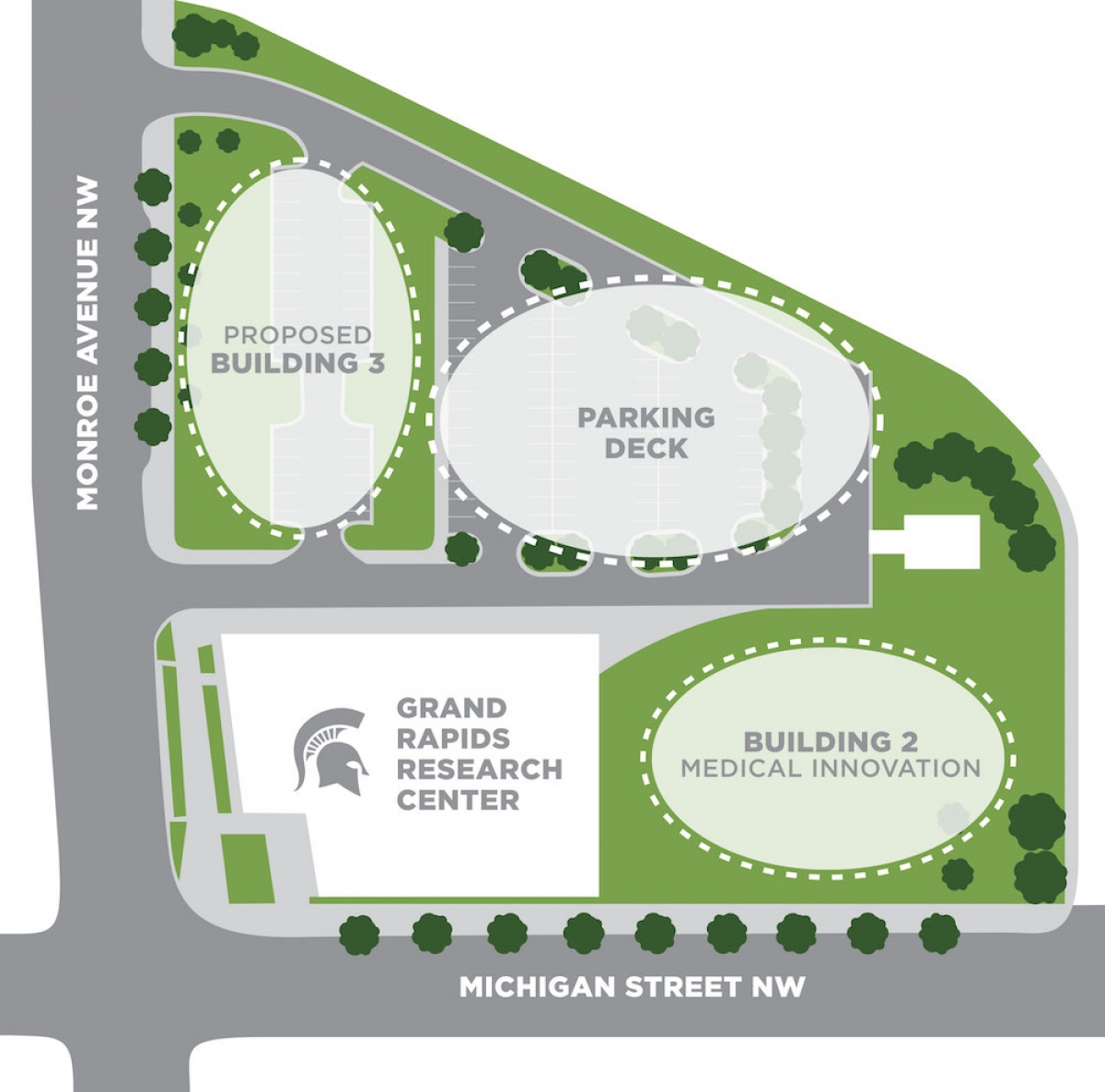 This map supplied by MSU shows where new buildings and a parking garage are scheduled to be built on the Grand Rapids Research Center campus on Michigan Street.