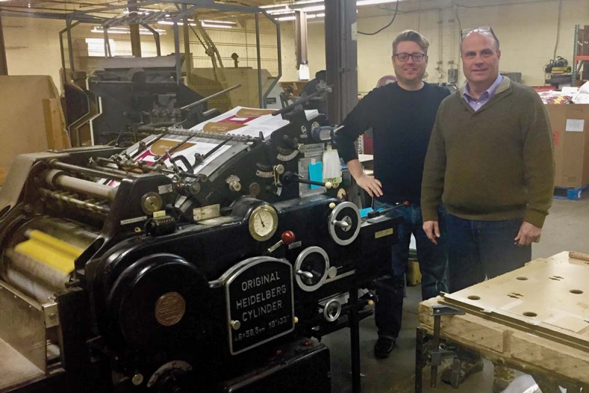 Owner Steve Weber, right, and General Manager Ben Abraham, left, plan to diversify Performance Die Cutting and Finishing into different industries, primarily in the specialty packaging products sector. Weber just acquired Performance Die Cutting from its prior owners.