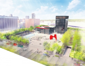 Renderings show a potential concept for Calder Plaza renovations.