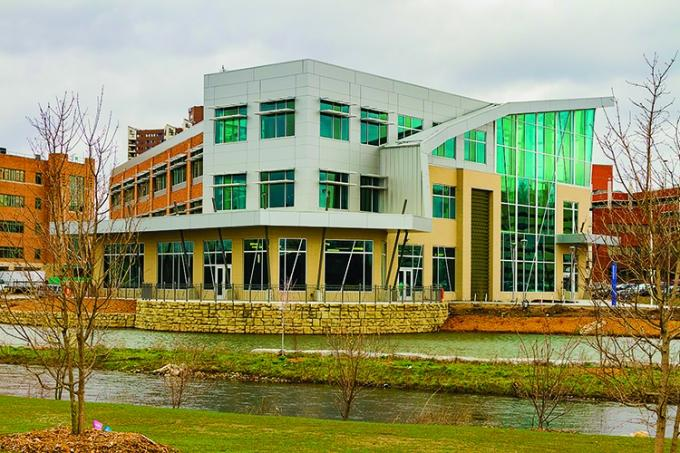 The 14-acre, $46.1 million Bronson Healthy Living Campus is home to Kalamazoo Valley Community College's culinary, sustainable food and allied health programs, plus new operations for Kalamazoo Community Mental Health and Substance Abuse Services.