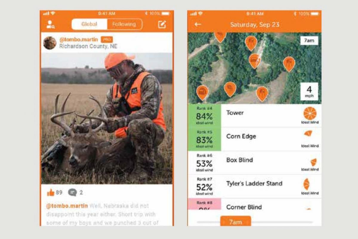 Sportsman Tracker offers hunters GPS maps, public and private land boundaries, weather forecasts and a predictive tool that identifies the best hunting times for specific game species.