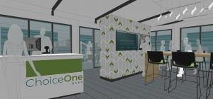 A conceptual image for the ChoiceOne Bank remodeling by Integrated Architecture of Grand Rapids.