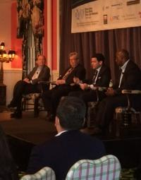 (From L-R) Paul Hillegonds, Peter Varga, Carlos Monje and Michael Ford at the MPC Transit Panel.